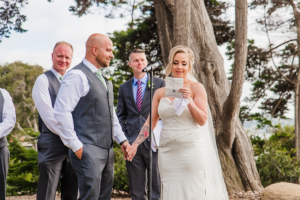 bride reading vows outdoor wedding venues in san diego