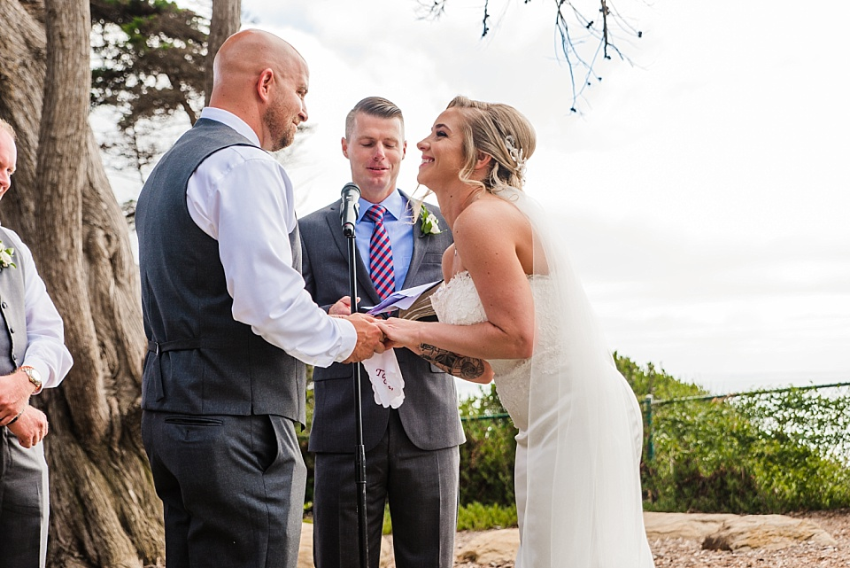 bride laughing during ceremony la jolla beach wedding venues