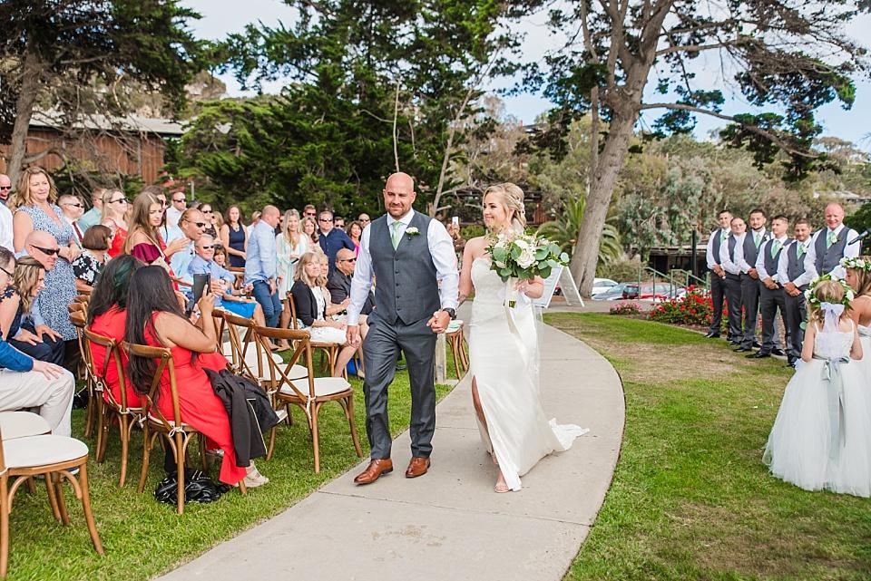 newlywed walking down the aisle la jolla wedding venue