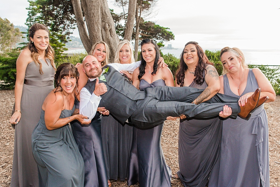 bridesmaids lifting groom outdoor venues san diego