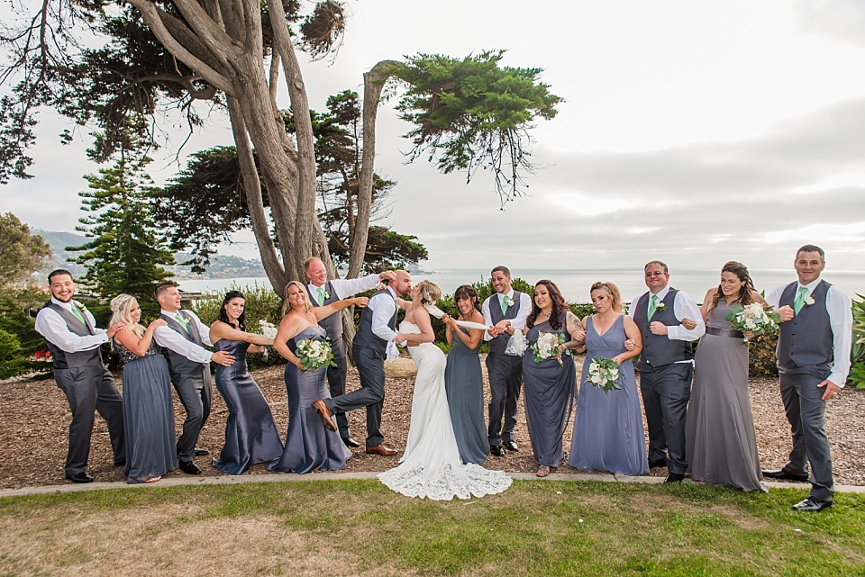 fun wedding bridal party portrait martin johnson house wedding