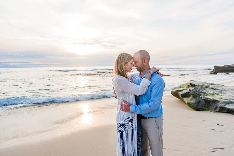 romantic couple beach portrait san diego engagement photo ideas