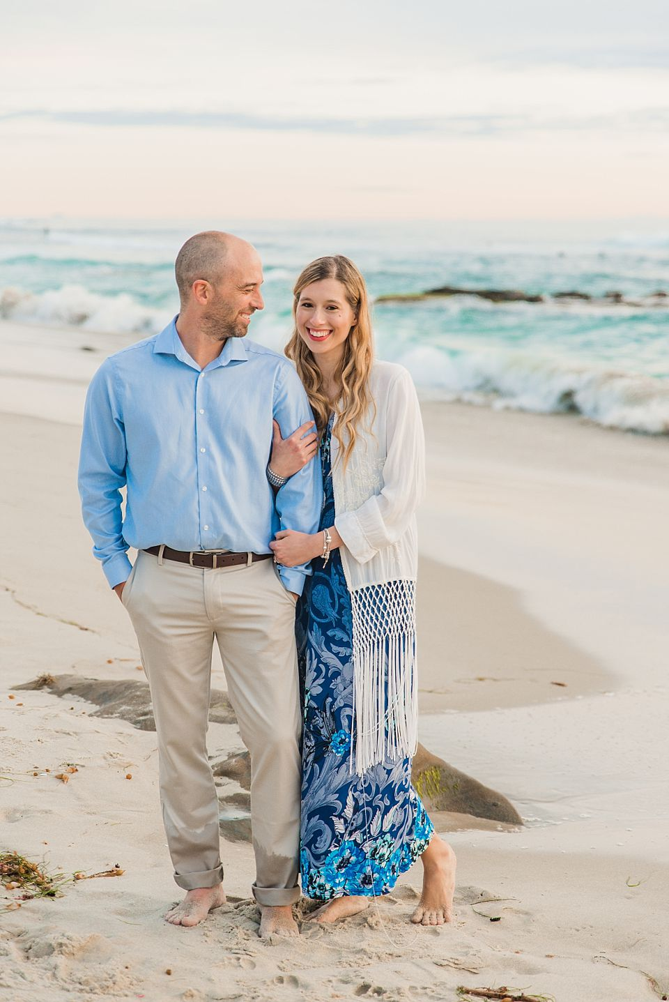 san diego engagement photo ideas woman smiling on beach
