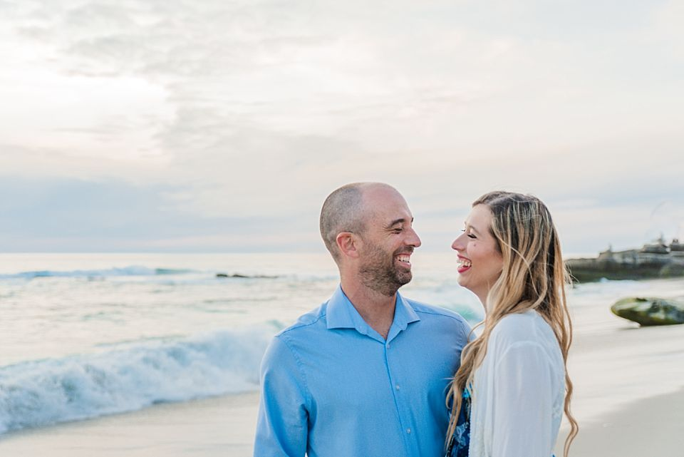 close up couple portrait la jolla beach engagement session