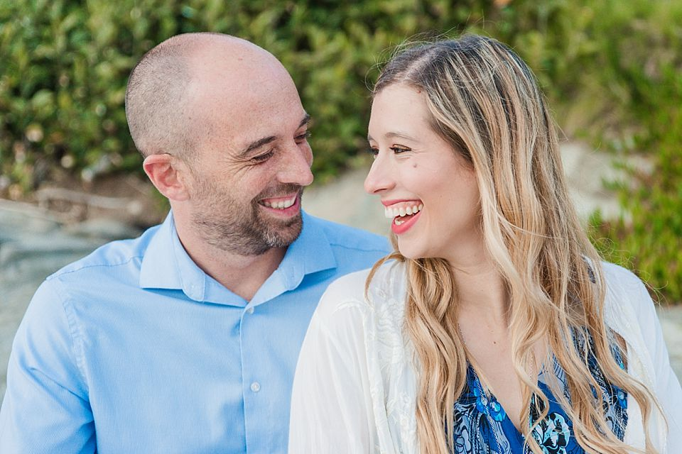 close up portrait couple laughing san diego engagement session