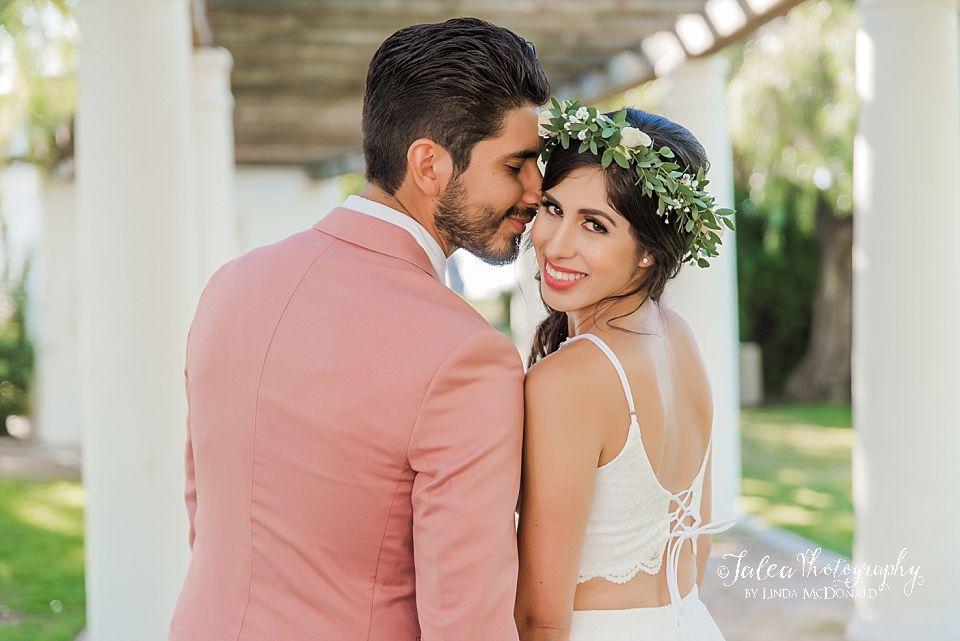 groom nuzzling bride intimate Presidio Park California elopement wedding