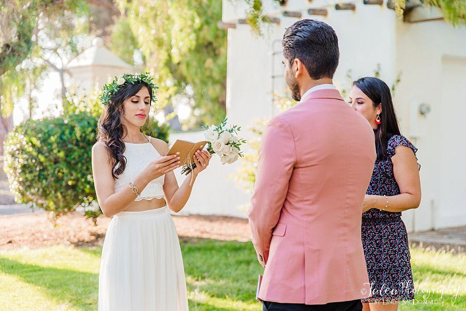bride reads vows to groom elopement ideas in san diego