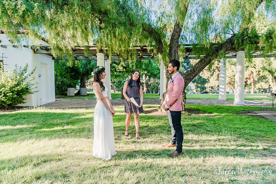 bride and groom facing each other during san diego elopement wedding
