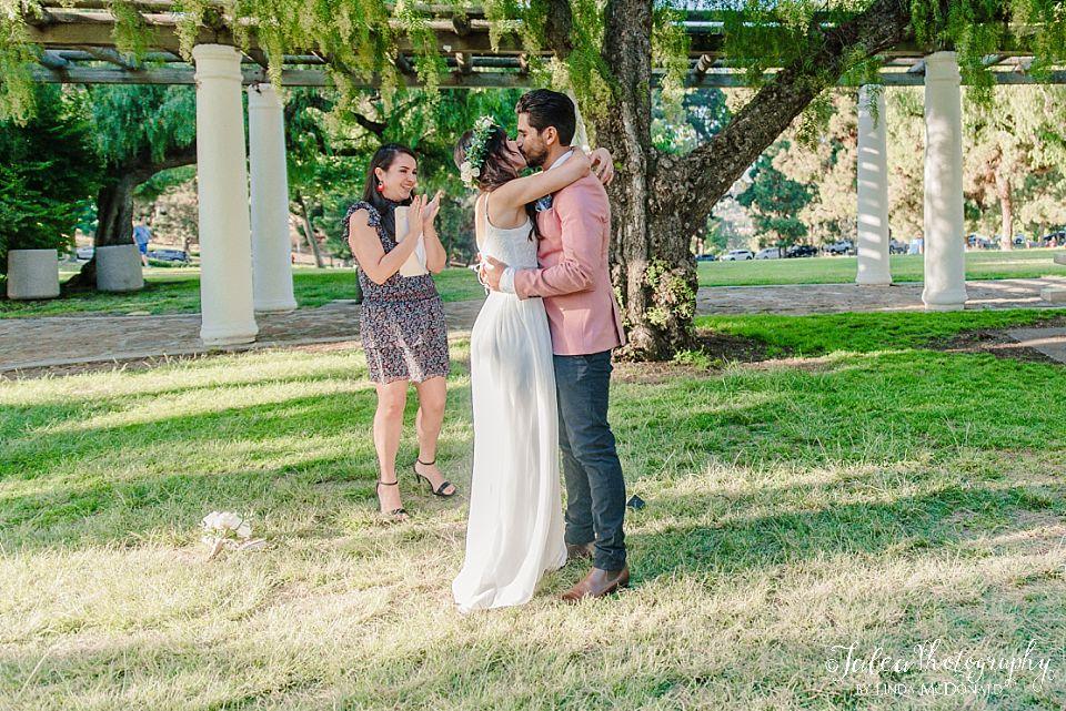 couples first wedding kiss san diego elopement photographer