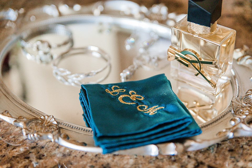 bridal details embroidered blue bridal handkerchief Coronado San Diego