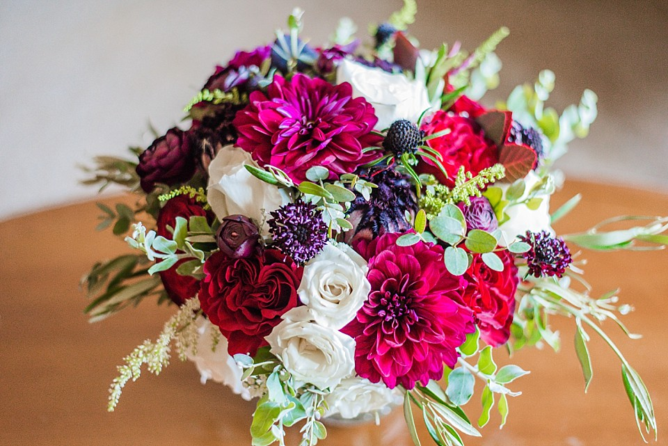 bridal bouquet red white and purple flowers California photographer