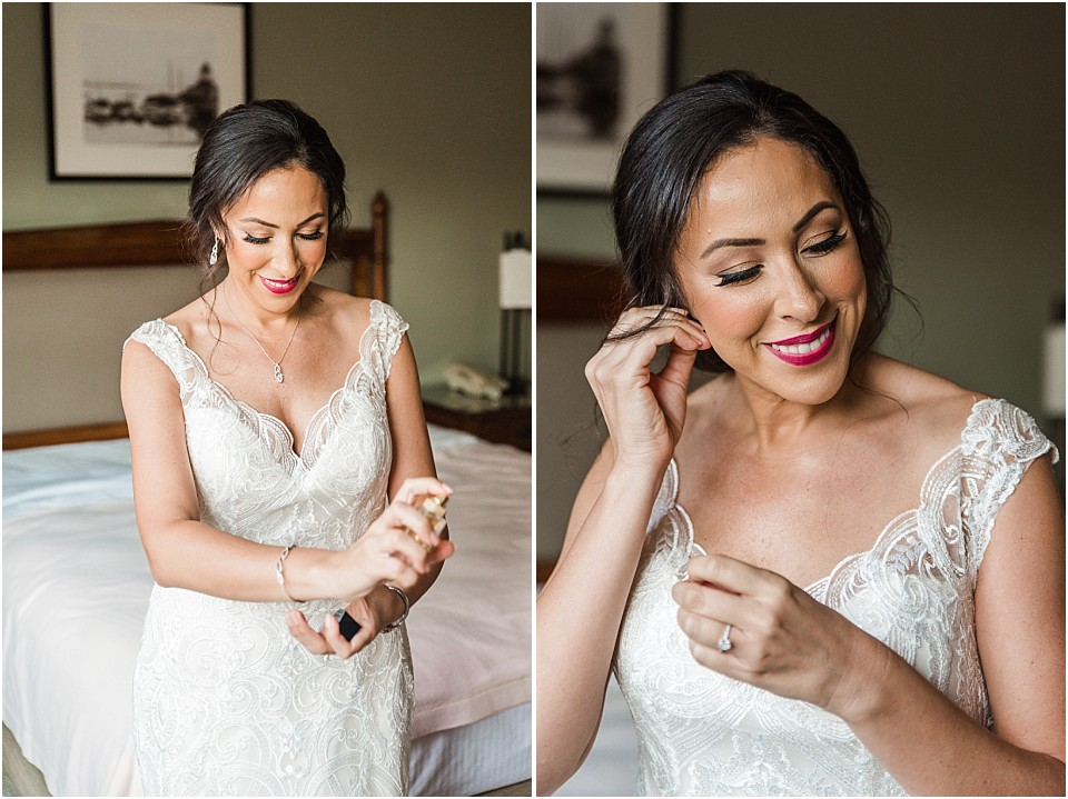 bride smiling while getting ready before the ceremony San Diego wedding photographer