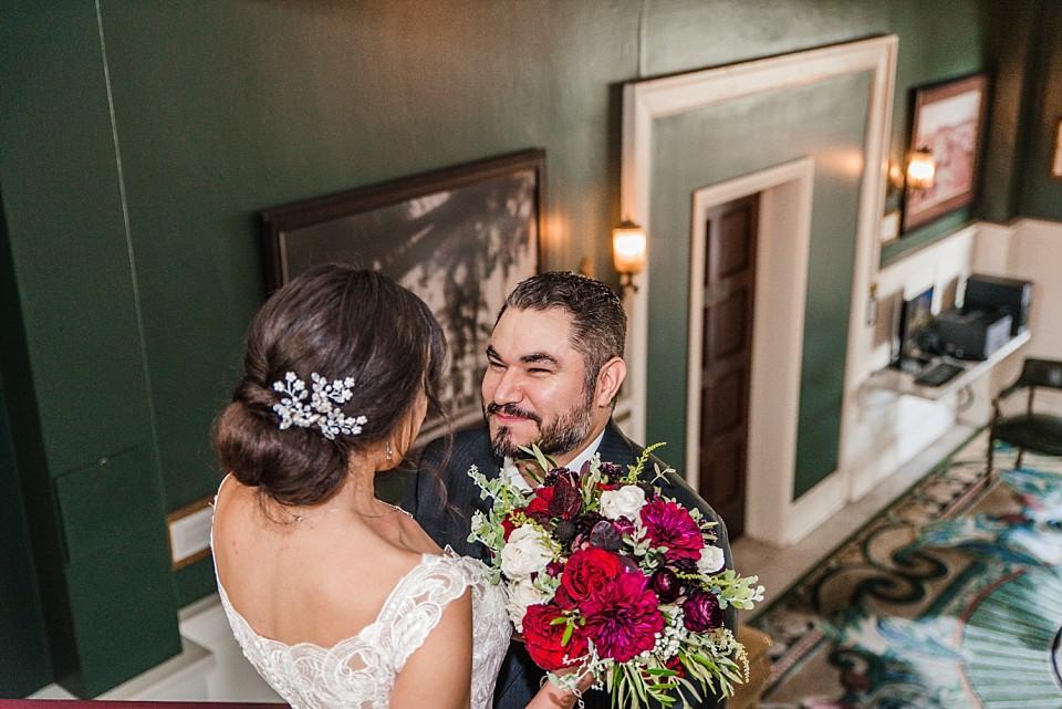 bride groom first look moment Coronado hotel