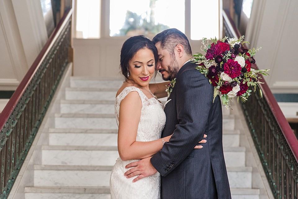 romantic bride groom portrait staircase Coronado wedding