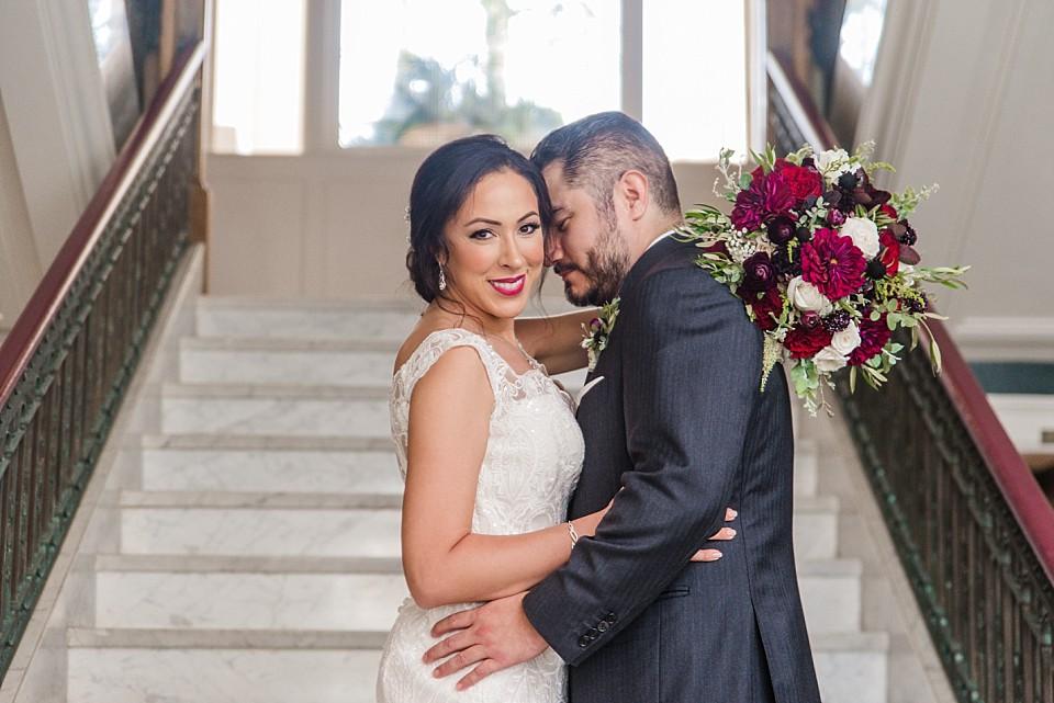 couple romantic staircase portrait coronado hotel