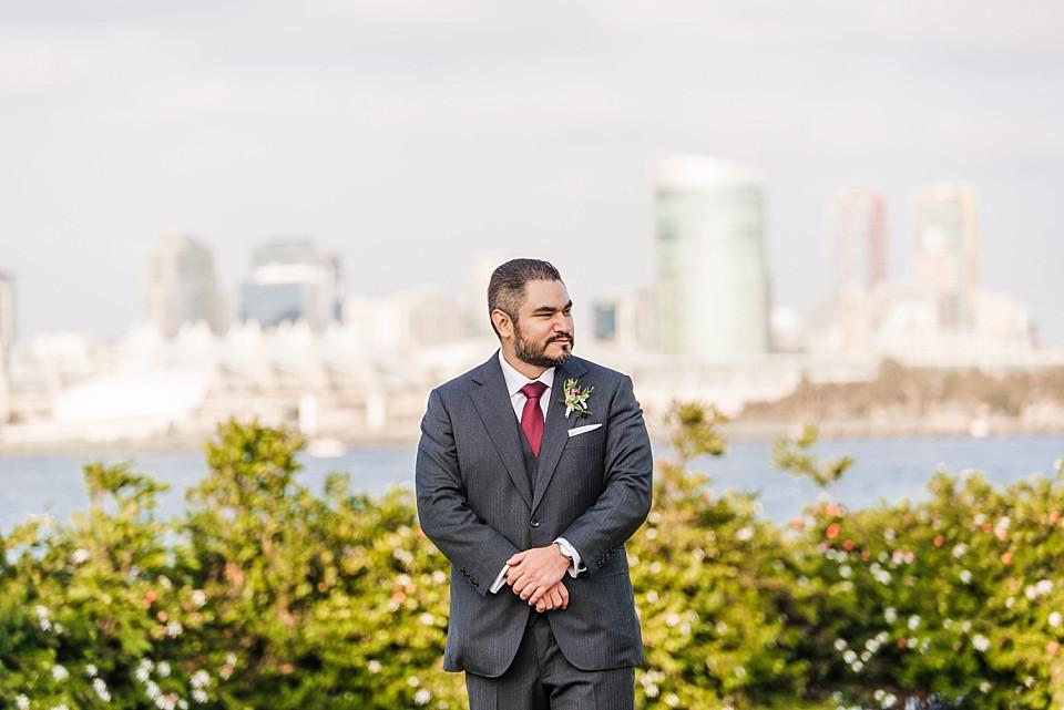 groom watching bride walk down aisle Coronado wedding Centennial Park