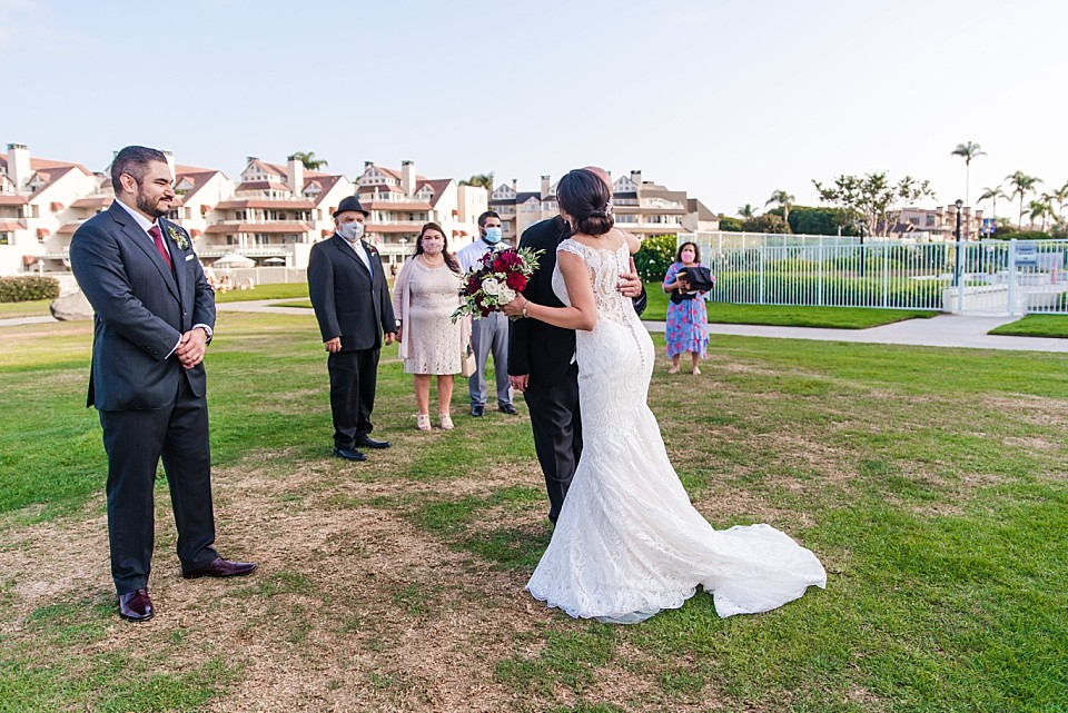 father giving bride away intimate outdoor wedding ideas