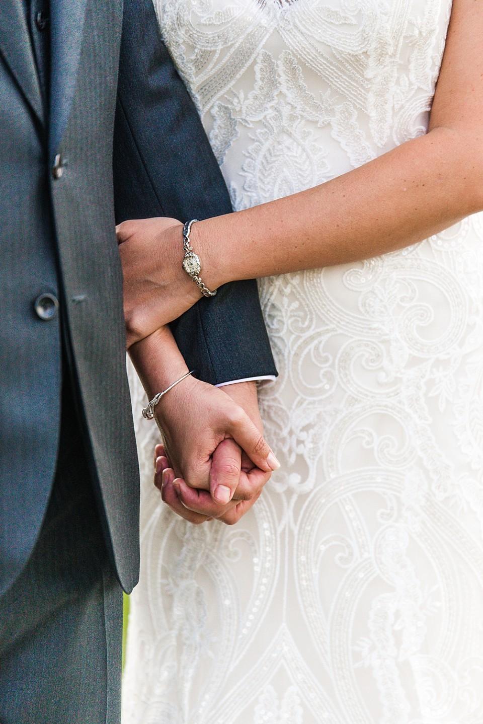 bride groom holding hands intimate wedding in Coronado California