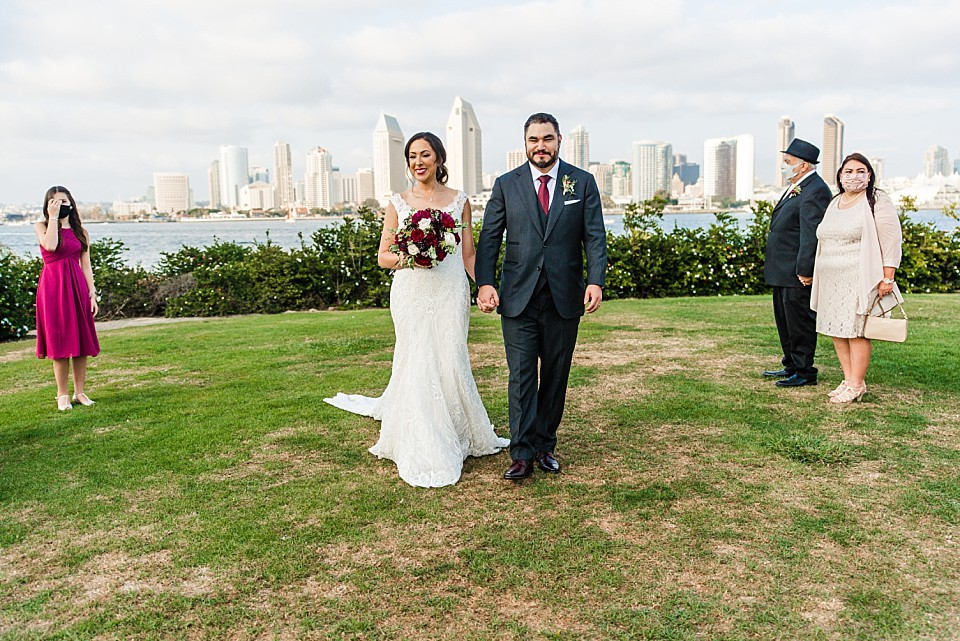 bride groom recessional intimate San Diego wedding