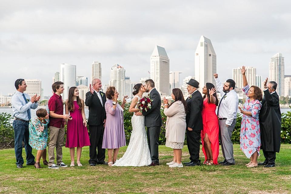 wedding guests cheering for bride and groom Coronado wedding