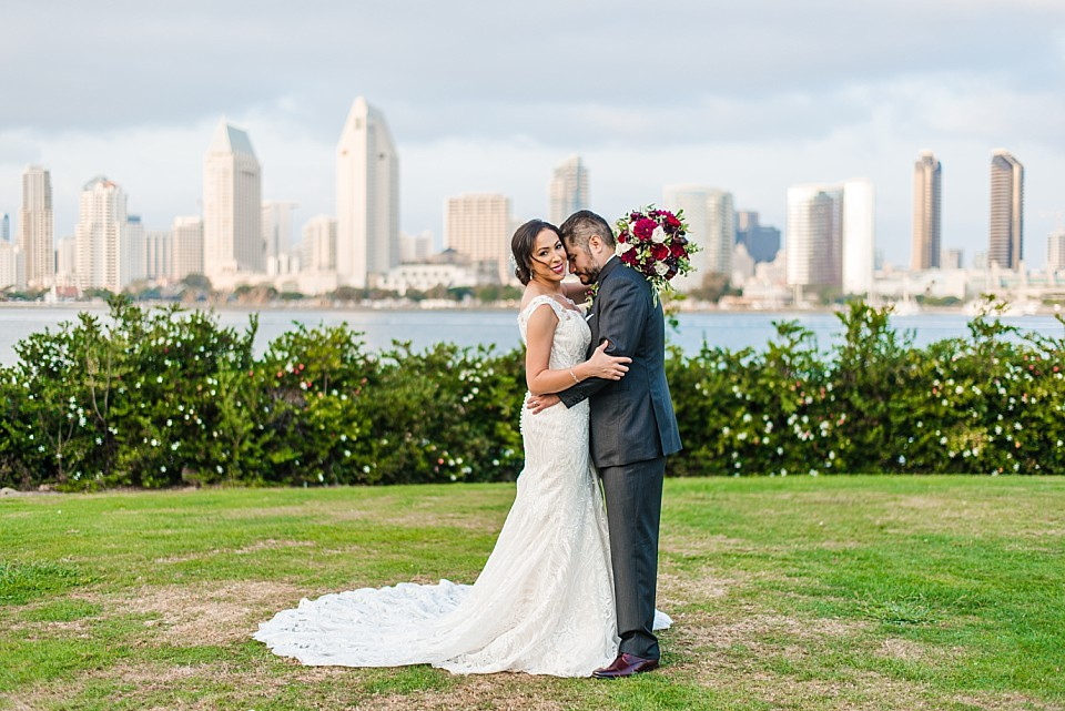 bride groom romantic portrait outdoor Coronado wedding photographer