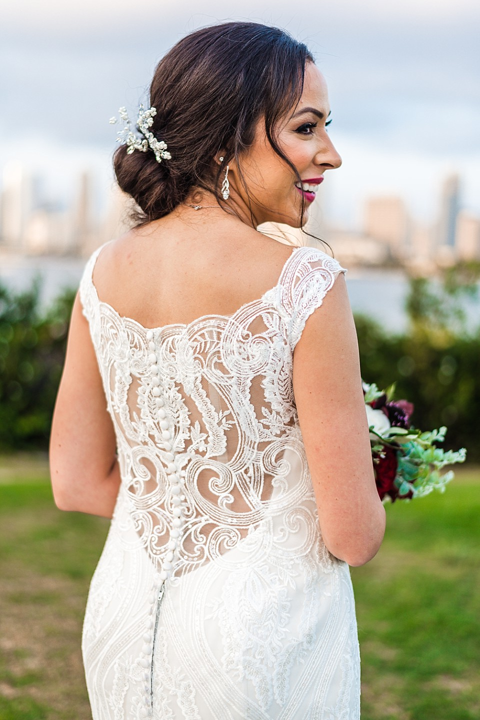 back of wedding dress bridal details elegant classic bride outdoor wedding San Diego