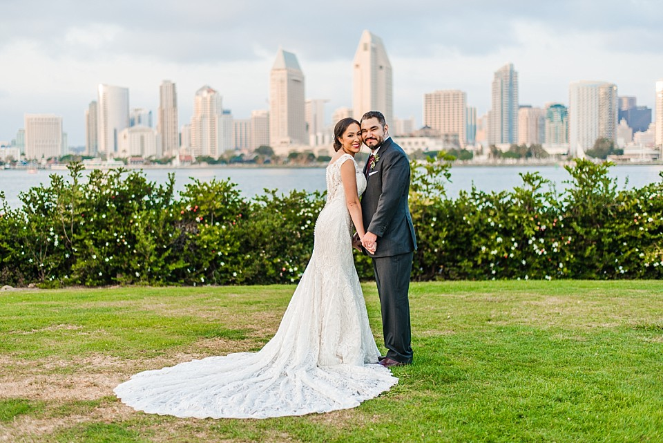 bride groom posing cheek to cheek San Diego photographer