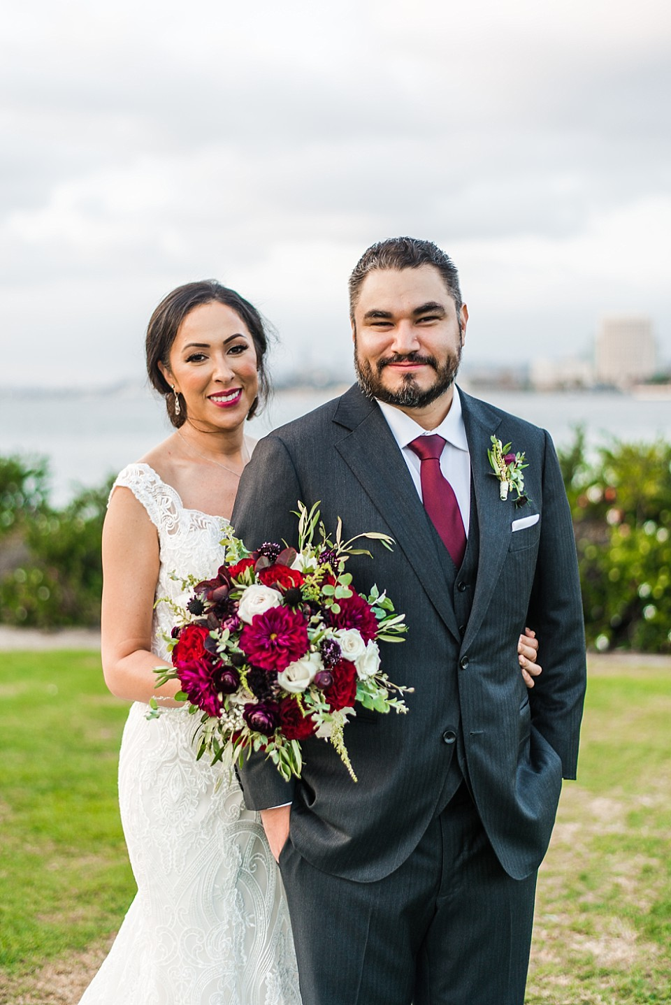 bride groom traditional portrait Coronado island outdoor wedding