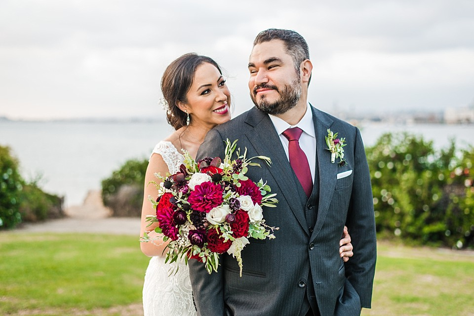 playful wedding couple post Coronado California
