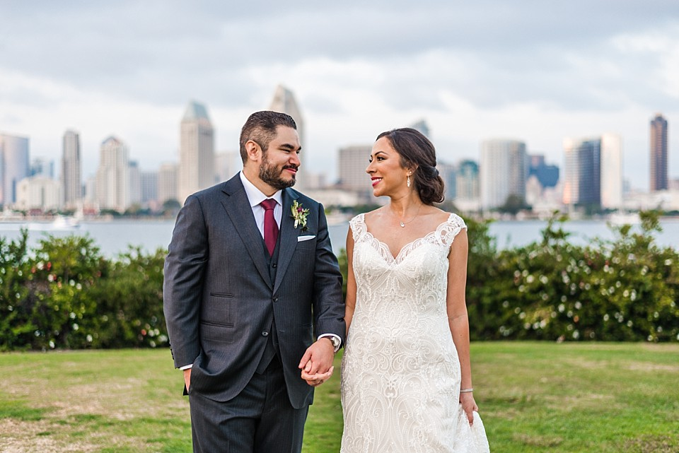bride groom lovingly smiling at each other outdoor wedding ideas San Diego