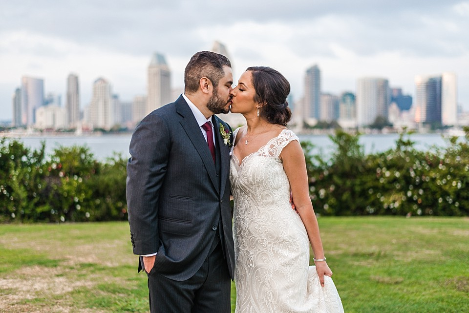 bride groom romantic portrait outdoor wedding in Coronado California