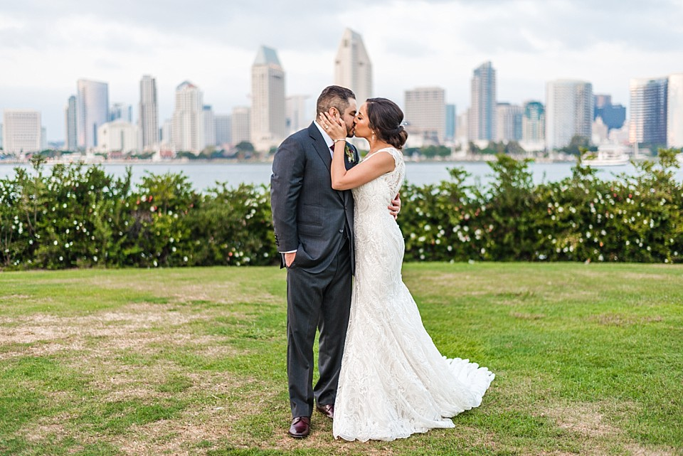 Centennial Park couple in a romantic embrace Coronado wedding photographer