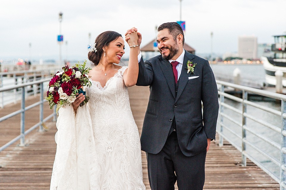 Ferry Landing Coronado up close portrait bride excited wedding couple