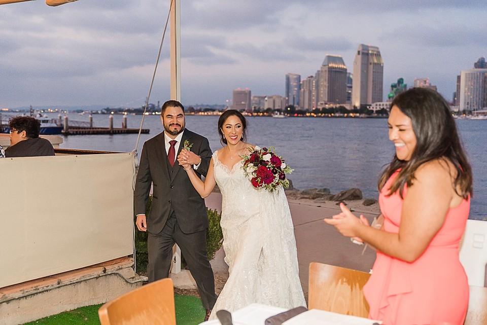 bride groom grand entrance fine dining restaurant Il Fornaio Coronado California