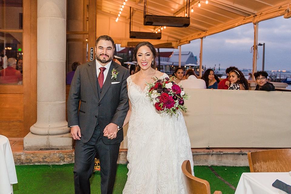bride groom happy moment Il Fornaio Restaurant Coronado California