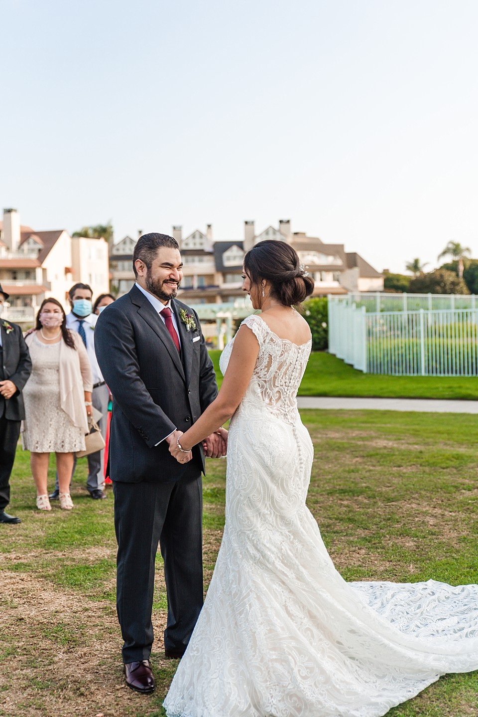 happy couple Coronado outdoor San Diego wedding ceremony