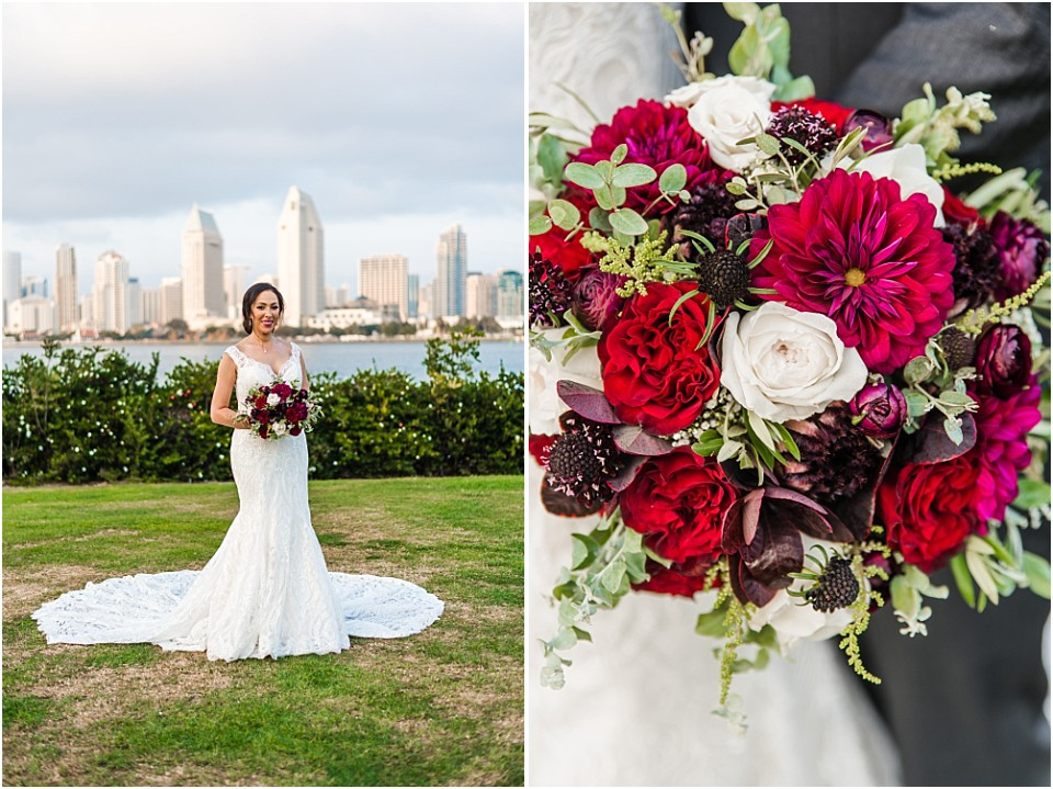 centennial park intimate wedding bride in dress full length bouquet