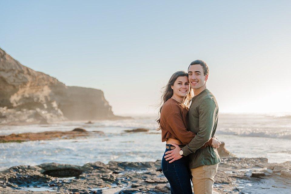 couple posing san diego engagement photos sunset